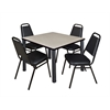 "Kee 42"" Square Breakroom Table- Maple/ Black & 4 Restaurant Stack Chairs- Black"