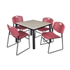 "Kee 42"" Square Breakroom Table- Maple/ Black & 4 Zeng Stack Chairs- Burgundy"