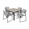"Kee 42"" Square Breakroom Table- Maple/ Black & 4 Zeng Stack Chairs- Grey"