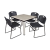 "Kee 42"" Square Breakroom Table- Maple/ Chrome & 4 Zeng Stack Chairs- Black"