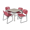 "Kee 42"" Square Breakroom Table- Maple/ Chrome & 4 Zeng Stack Chairs- Burgundy"