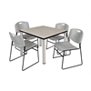 "Kee 42"" Square Breakroom Table- Maple/ Chrome & 4 Zeng Stack Chairs- Grey"