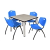 "Kee 42"" Square Breakroom Table- Maple/ Chrome & 4 'M' Stack Chairs- Blue"