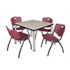 "Kee 42"" Square Breakroom Table- Maple/ Chrome & 4 'M' Stack Chairs- Burgundy"