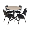 """Cain 42"""" Round Breakroom Table- Beige & 4 Restaurant Stack Chairs- Black"""