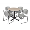 "Cain 42"" Round Breakroom Table- Beige & 4 Zeng Stack Chairs- Grey"