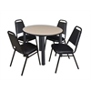 "Kee 42"" Round Breakroom Table- Beige/ Black & 4 Restaurant Stack Chairs- Black"