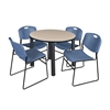 "Kee 42"" Round Breakroom Table- Beige/ Black & 4 Zeng Stack Chairs- Blue"