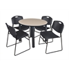 "Kee 42"" Round Breakroom Table- Beige/ Black & 4 Zeng Stack Chairs- Black"