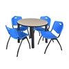 "Kee 42"" Round Breakroom Table- Beige/ Black & 4 'M' Stack Chairs- Blue"