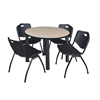 "Kee 42"" Round Breakroom Table- Beige/ Black & 4 'M' Stack Chairs- Black"