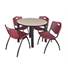 "Kee 42"" Round Breakroom Table- Beige/ Black & 4 'M' Stack Chairs- Burgundy"