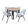 "Kee 42"" Round Breakroom Table- Beige/ Black & 4 'M' Stack Chairs- Grey"
