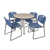 "Kee 42"" Round Breakroom Table- Beige/ Chrome & 4 Zeng Stack Chairs- Blue"