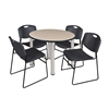 "Kee 42"" Round Breakroom Table- Beige/ Chrome & 4 Zeng Stack Chairs- Black"