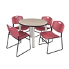 "Kee 42"" Round Breakroom Table- Beige/ Chrome & 4 Zeng Stack Chairs- Burgundy"