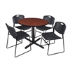 "Cain 42"" Round Breakroom Table- Cherry & 4 Zeng Stack Chairs- Black"