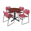 "Cain 42"" Round Breakroom Table- Cherry & 4 Zeng Stack Chairs- Burgundy"