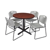 "Cain 42"" Round Breakroom Table- Cherry & 4 Zeng Stack Chairs- Grey"