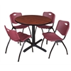 "Cain 42"" Round Breakroom Table- Cherry & 4 'M' Stack Chairs- Burgundy"
