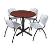 "Cain 42"" Round Breakroom Table- Cherry & 4 'M' Stack Chairs- Grey"