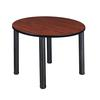 "Kee 42"" Round Breakroom Table- Cherry/ Black"