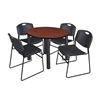 "Kee 42"" Round Breakroom Table- Cherry/ Black & 4 Zeng Stack Chairs- Black"