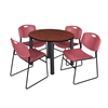 "Kee 42"" Round Breakroom Table- Cherry/ Black & 4 Zeng Stack Chairs- Burgundy"