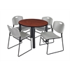 "Kee 42"" Round Breakroom Table- Cherry/ Black & 4 Zeng Stack Chairs- Grey"