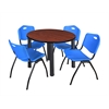 "Kee 42"" Round Breakroom Table- Cherry/ Black & 4 'M' Stack Chairs- Blue"