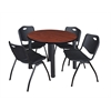 "Kee 42"" Round Breakroom Table- Cherry/ Black & 4 'M' Stack Chairs- Black"