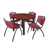 "Kee 42"" Round Breakroom Table- Cherry/ Black & 4 'M' Stack Chairs- Burgundy"