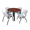 "Kee 42"" Round Breakroom Table- Cherry/ Black & 4 'M' Stack Chairs- Grey"