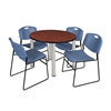"Kee 42"" Round Breakroom Table- Cherry/ Chrome & 4 Zeng Stack Chairs- Blue"