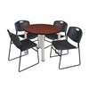 "Kee 42"" Round Breakroom Table- Cherry/ Chrome & 4 Zeng Stack Chairs- Black"