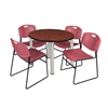 "Kee 42"" Round Breakroom Table- Cherry/ Chrome & 4 Zeng Stack Chairs- Burgundy"