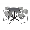 "Cain 42"" Round Breakroom Table- Grey & 4 Zeng Stack Chairs- Grey"