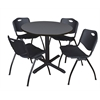 "Cain 42"" Round Breakroom Table- Grey & 4 'M' Stack Chairs- Black"