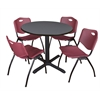 "Cain 42"" Round Breakroom Table- Grey & 4 'M' Stack Chairs- Burgundy"