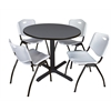 "Cain 42"" Round Breakroom Table- Grey & 4 'M' Stack Chairs- Grey"