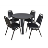 "Kee 42"" Round Breakroom Table- Grey/ Black & 4 Restaurant Stack Chairs- Black"