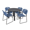"Kee 42"" Round Breakroom Table- Grey/ Black & 4 Zeng Stack Chairs- Blue"