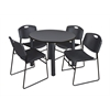 "Kee 42"" Round Breakroom Table- Grey/ Black & 4 Zeng Stack Chairs- Black"