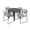 "Kee 42"" Round Breakroom Table- Grey/ Black & 4 Zeng Stack Chairs- Grey"
