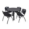 "Kee 42"" Round Breakroom Table- Grey/ Black & 4 'M' Stack Chairs- Black"
