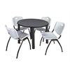 """Kee 42"""" Round Breakroom Table- Grey/ Black & 4 'M' Stack Chairs- Grey"""