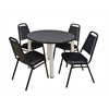 "Kee 42"" Round Breakroom Table- Grey/ Chrome & 4 Restaurant Stack Chairs- Black"
