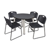 "Kee 42"" Round Breakroom Table- Grey/ Chrome & 4 Zeng Stack Chairs- Black"