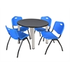 "Kee 42"" Round Breakroom Table- Grey/ Chrome & 4 'M' Stack Chairs- Blue"