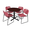 "Cain 42"" Round Breakroom Table- Mahogany & 4 Zeng Stack Chairs- Burgundy"